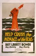 Vintage War Poster Help crush the menace of the seas - buy liberty bonds.